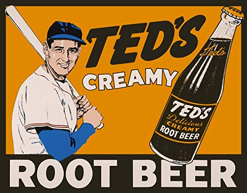 Creamy Beer Tin Root Teds - Ted Williams Creamy Root Beer Tin Sign All Aluminum 8 x 10