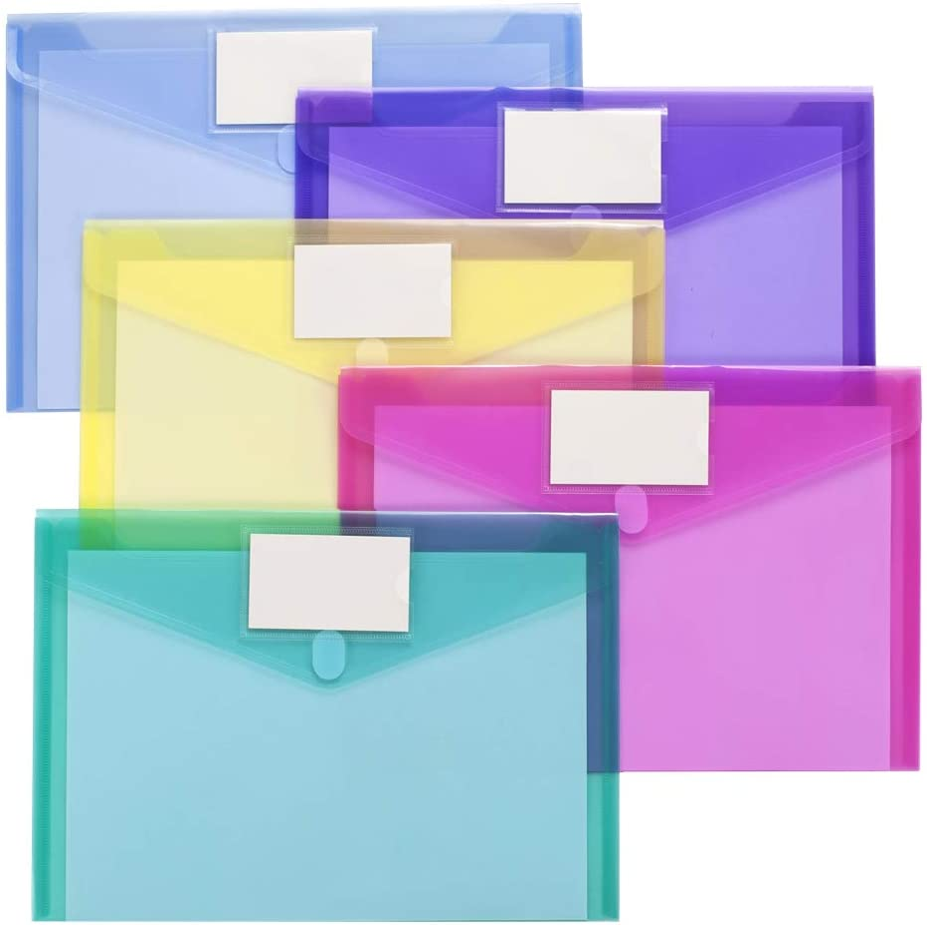 10 Pack Plastic Envelopes Poly Envelopes, Sooez Clear Document Folders US Letter A4 Size File Envelopes with Label Pocket & Velcro for School Home Work Office Organization, Assorted Color