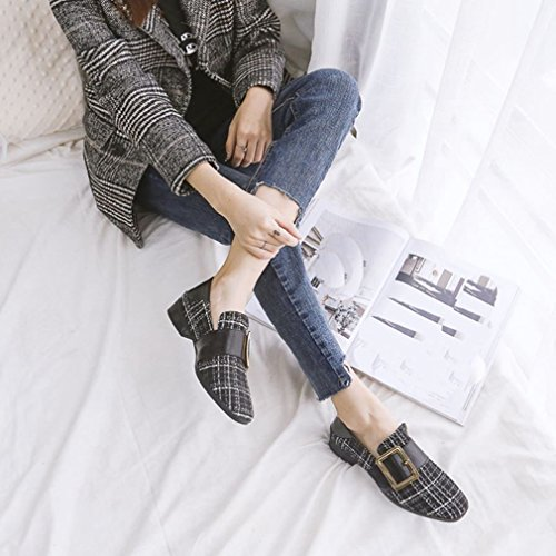 Giy Donna Classico Penny Mocassino Comfort Punta Quadrata Piattaforma Tacco Basso Slip On Dress Mocassini Scarpe Nere