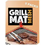 LJEX Copper Grill Mat Set of 5 - Non-Stick BBQ Grill&Baking Mat for Gas, Charcoal, Electric Grill and more - FDA-Approved, PFOA Free By 15.75 x 13 Inch
