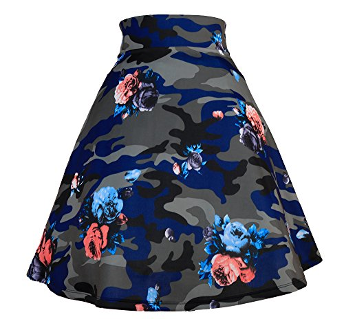 Modeway Women's Floral High Waist Flared Casual Knee Length Pleated Skater Skirt (Large, (Camouflage Knee Length Skirt)