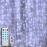 AMIR Upgraded Window Curtain String Lights, 300 LED USB Powered String Lights, 4 Music Control Modes 8 Lighting Modes Waterproof Decorative Lights for Wedding, Home, Party, Bedroom (White, 9.8x9.8 Ft)