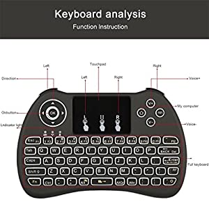 (Updated 2018,Backlit) h9+ 2.4GHz Mini Wireless Keyboard with Touchpad Mouse, LED Backlit, Rechargable Li-ion Battery-Black