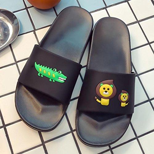 IGEMY Coole Sommer Löwe oder Krokodil Muster Sandalen Badeschuhe Wandering Schuhe (38-39, Schwarz)