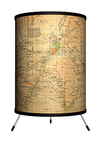 Lamp-In-A-Box TRI-TRV-OLDWO Travel - Old World Map Tripod Lamp, 8