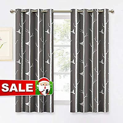 KGORGE Bedroom Blackout Curtains Farmhouse - Thermal Insulated Contemporary Tree and Bird Printed Grommet Draperies for Living Room Kitchen Dining Kids Room, 1 Pair, 52 x 63 inches Long, Toffee-Grey - STYLISH DESIGN: Reminiscent of a lake front cabin view of the forest edge, our Birch Tree & Bird curtains bring the outdoors in. Creating a calming effect with birds peacefully resting atop tree branches in light. Good balance between cute and mature. PACKAGE INCLUDES: Set of 2 KGORGE Printed Blackout Curtains, each measuring 52 wide by 63 long with 8 metal grommets on the top for easy install and move. The inner diameter of grommets is 1.6 for use with standard-sized curtain rods. SERVE WELL: Durable and soft blackout fabric with eco-friendly printing, block out 80%-90% light and UV ray. Efficiently prevent cold or heat transfer from outside, as well as privacy protection and noise reduction. Allows you to enjoy the art life without interruption. - living-room-soft-furnishings, living-room, draperies-curtains-shades - 51TT81QD%2BoL. SS400  -