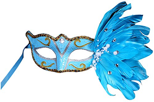 Making up Masquerade Christmas Halloween Plastic Feathers Painted Feather Masks Birthday Party (Blue)