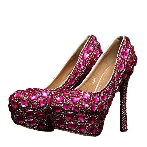 Heel Pageant Eveing Bridal cm Flat Women's Pumps Fuchsia Wedding 14 Fuchsia Boshi wxnaRHqXSf