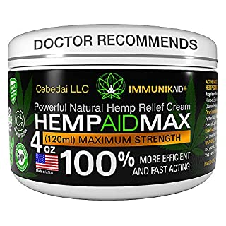 Premium Hemp Cream for Pain Relief - 4oz Pure Hemp Oil Extract - Made in USA - Extra Strength Natural Massage Lotion for Joint, Muscle, Knee, Back, Neck Inflammation - Topical Salve Balm