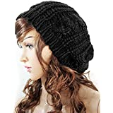 Eforstore Women Ladies Baggy Beret Chunky Knit Knitted Braided Beanie Hat Ski Cap