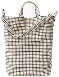BAGGU Duck Bag Canvas Tote, Essential Everyday Tote, Spacious and Roomy, Natural Grid