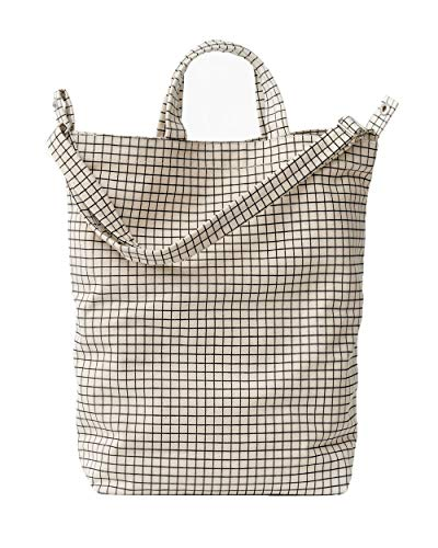 BAGGU Duck Bag Canvas Tote, Essential Everyday Tote, Spacious and Roomy, Natural Grid - Canvas Bags Totes Luggage