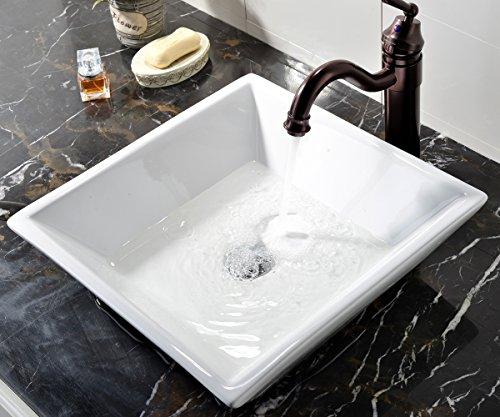 vessel sinks white square above counter porcelain ceramic vanity bathroom art ebay. Black Bedroom Furniture Sets. Home Design Ideas
