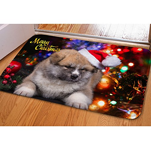 (FOR U DESIGNS Home Garden Decorative Floor Mat Welcome Merry Christmas Ornament Holiday Doormat with Cute Pug Head)