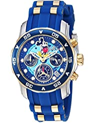 Invicta Womens Disney Limited Edition Quartz Stainless Steel and Silicone Casual Watch, Color:Blue (Model:...