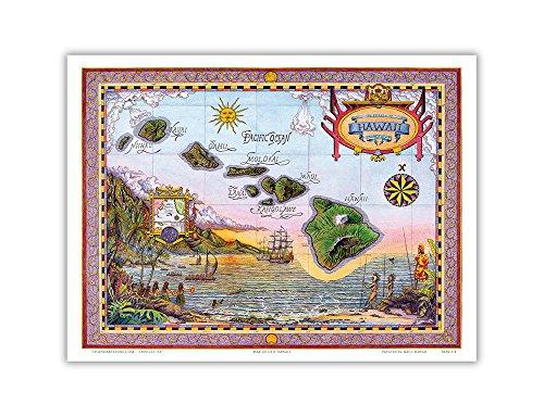 Map of Old Hawaii - The Islands of Hawaii - Vintag…