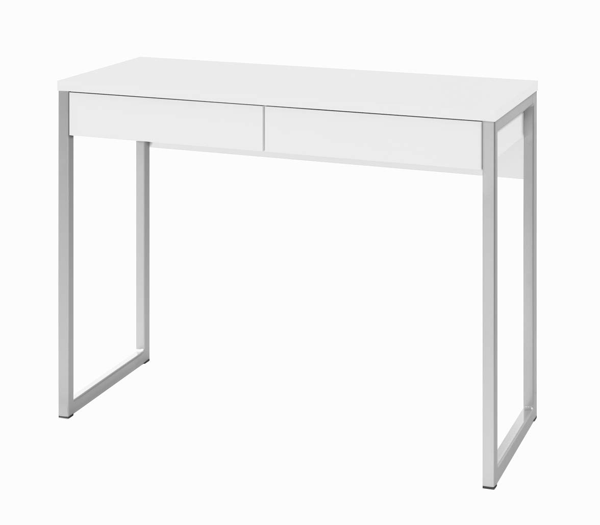 TVILUM 80122uu Walker 2 Drawer Desk, White High Gloss by TVILUM