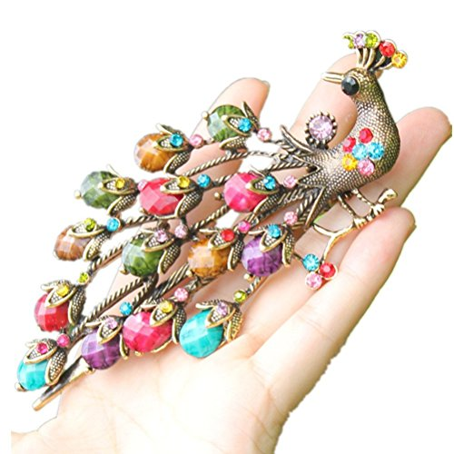 cuhair handmade 1pc vintage peacock Phoenix crystal rhinestone design for women hair clip hair barrette hair pin hair claw hair accessories gift, Size (136 Peacock)