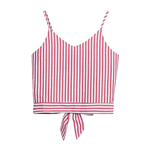 Bodice Striped Tank (Ghazzi Women Tank Crop Tops Self Tie Back Striped Sleeveless Tops Ladies Vest Casual Blouse Cami Shirt Camisoles (XL, Red))