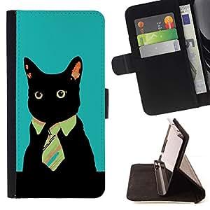 For Sony Xperia Style T3 Case , Gato Oficina de Negocios del gatito- la tarjeta de Crédito Slots PU Funda de cuero Monedero caso cubierta de piel