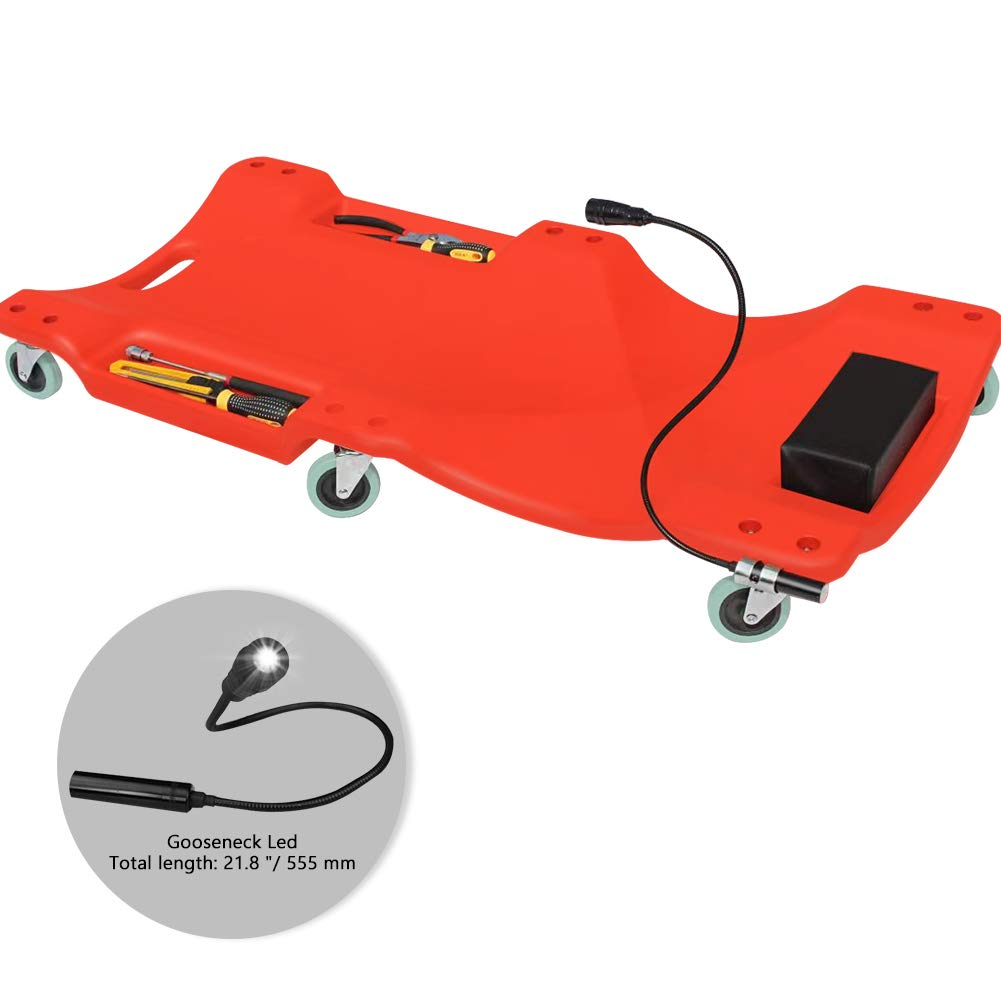 AUTOOL Mechanic Plastic 40'' Car Creeper Board with Led Light, Car Workshop Crawler Board Ergonomic Body & Padded Headrest & Dual Tool Trays, Automotive Repair Tool Roller Creepers Support 200KG