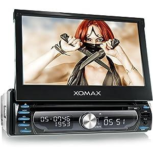 XOMAX XM-DTSBN927 Autoradio / Moniceiver / Naviceiver avec navigation GPS + GPS auto intégré avec cartographie Europe (48 pays) + Fonction sans fil Bluetooth avec importation de l'annuaire + Écran tactile de 7″ / 18cm, 16:9 HD (800 x 480 px) + Lecteur DVD et CD+ Port USB (128 GB) + Fente pour cartes SD (128 GB) + MPEG4, MP3, WMA, JPEG etc. + Connexions pour subwoofer, caméra recul et commandes au volant + Dimensions standard double DIN (1DIN) + Télécommande, tiroir métallique, cadre inclus