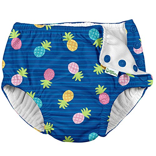 i play. by green sprouts Clothing, Shoes & Jewelry Toddler Girls' Swim Diaper, Blue Pineapple Stripe, 4T from i play. by green sprouts