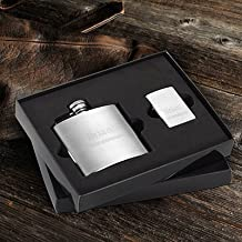 Engraved Brushed Flask and Zippo Lighter Gift Set