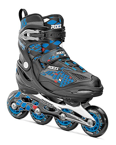 Roces 450654 Men's Model Moody Ice Skate, US 4-7, Black/Astro Blue/Red by Roces