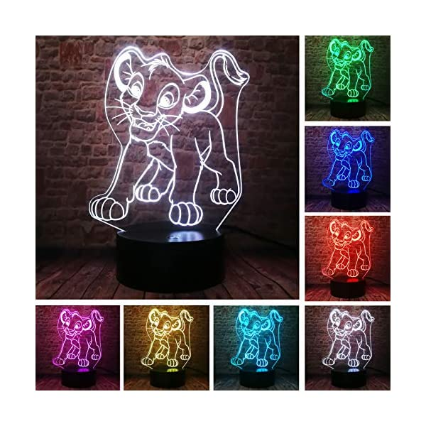Fanrui Cute Simba The Lion King of The Jungle Animals Smart 7 Color Auto USB Touch Control Good Night Light Bedroom Playroom Nursery Decor Children Kids Boys Son Infant Baby Xmas Birthday Toys Gifts