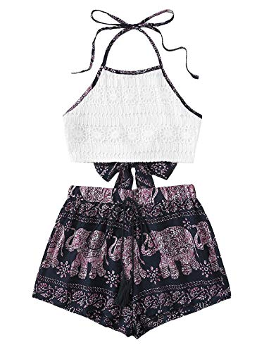(MAKEMECHIC Women's 2 Piece Outfit Summer Striped V Neck Crop Cami Top with Shorts Lace-Multi S)
