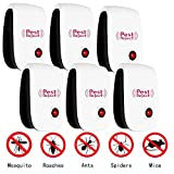 PESKI Pest Control Ultrasonic Repeller [6 Pack] - Electronic Repellent Plug In for Mosquitoes, Insects, Spiders, Mices, Roaches, Bugs, Flies, Fleas & Ants - Black