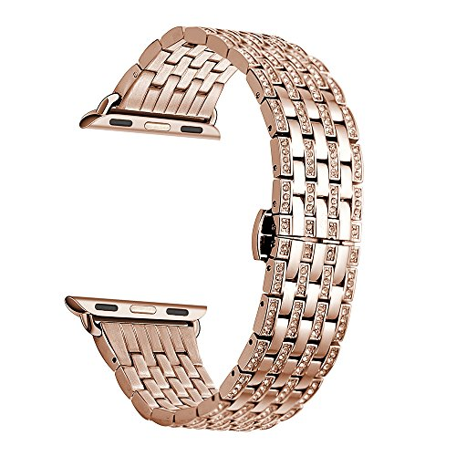 Kartice 40mm 38mm Diamon Watch Band,Alloy Crystal Rhinestone Watch Band Luxury Stainless Steel Bracelet Strap Watch Bands for Apple Watch Series 4 40mm,Series 3,2,1 38mm Sport.(-Rose Gold) (Watches Ebay)