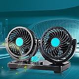 Awakingdemi12V 360 Degree Rotation Adjustable Strong Wind Car Air Fan 2-in-1 Air Circulator for Truck SUV