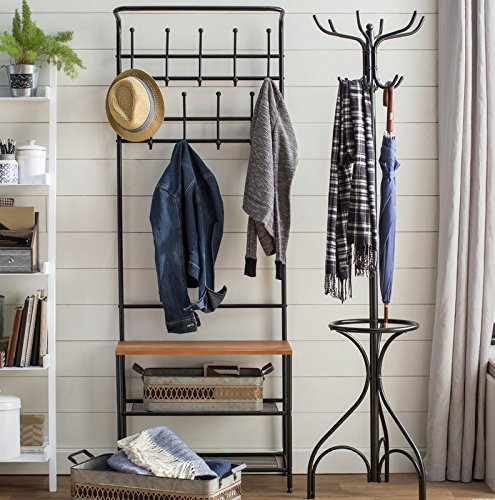 Entryway Storage Hall Tree Made of Metal and Bench With Wood Seat in Black Color With Hooks Enjoy It - This handy entryway organizer includes two levels of coat hooks to hold hats, jackets, and keys. The wood surface bench is great for setting bags, purses, or backpacks as you walk in the door. Two steel wire bottom shelves can hold several pairs of shoes or baskets for gloves, dog leashes, or accessories. Material: Metal. Storage Bench Included: Yes. Hooks Included: Yes. Assembly Required: Yes. - hall-trees, entryway-furniture-decor, entryway-laundry-room - 51TTALi NDL -