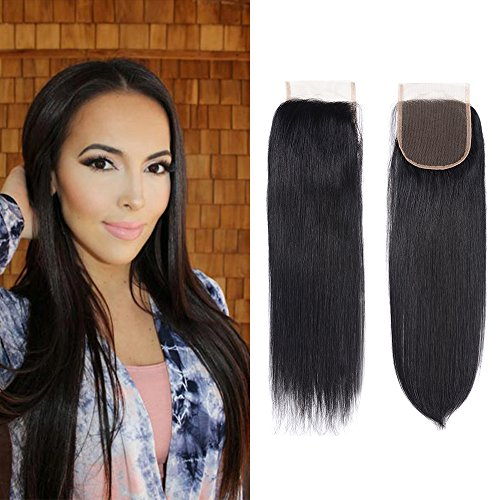 Brazilian Virgin Human Hair Straight Lace Closure 4x4 Free Part Top Lace Closure Natural Black Color (14Inch)