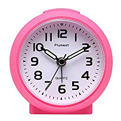 Plumeet Non Ticking Travel Alarm Clock with Snooze and Nightlight, Ascending Sound Alarm, Easy to Set, Handheld Sized, Best Gifts for Kids, Battery Powered (Pink)