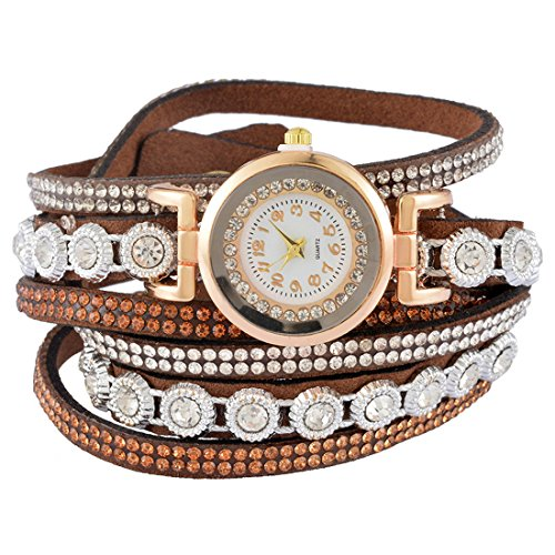 Loweryeah South Korean Velvet Woven Rhine Three-Layer Bracelet Gift Wrist Watch 40cm (Brown)