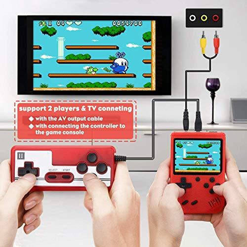 Bcamelys Console De Jeux Portable, Mini Console Game Boy 500 Jeux Classiques Chargement USB 1020 mAh Console Retro pour 2 Joueurs Meuble TV Consoles de Jeu Portables