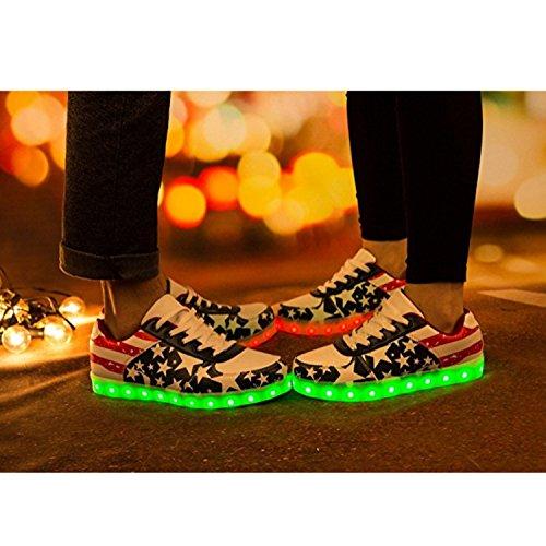 Bestshow Donna Uomo Scarpe Led Caricabatterie Usb Americano Bandiera Sport Light Up Lampeggiante Sneakers Moda Blu E Rosso