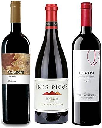 Pack Mejores Vinos Españoles Value según Parker 3 botellas. 1 Solanera, 1 Pruno, y 1 Borsao Tres Pico: Amazon.es: Alimentación y bebidas