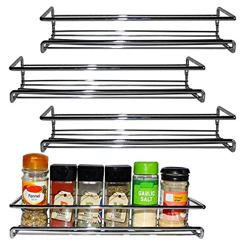 - BELLE VOUS 4 Pack Chrome Wall Mount Spice Rack Organizer for Cabinet - Single Tier Hanging Organizers for Pantry - Seasoning Organizer - Pantry Door Organizer - Spice Storage Brand