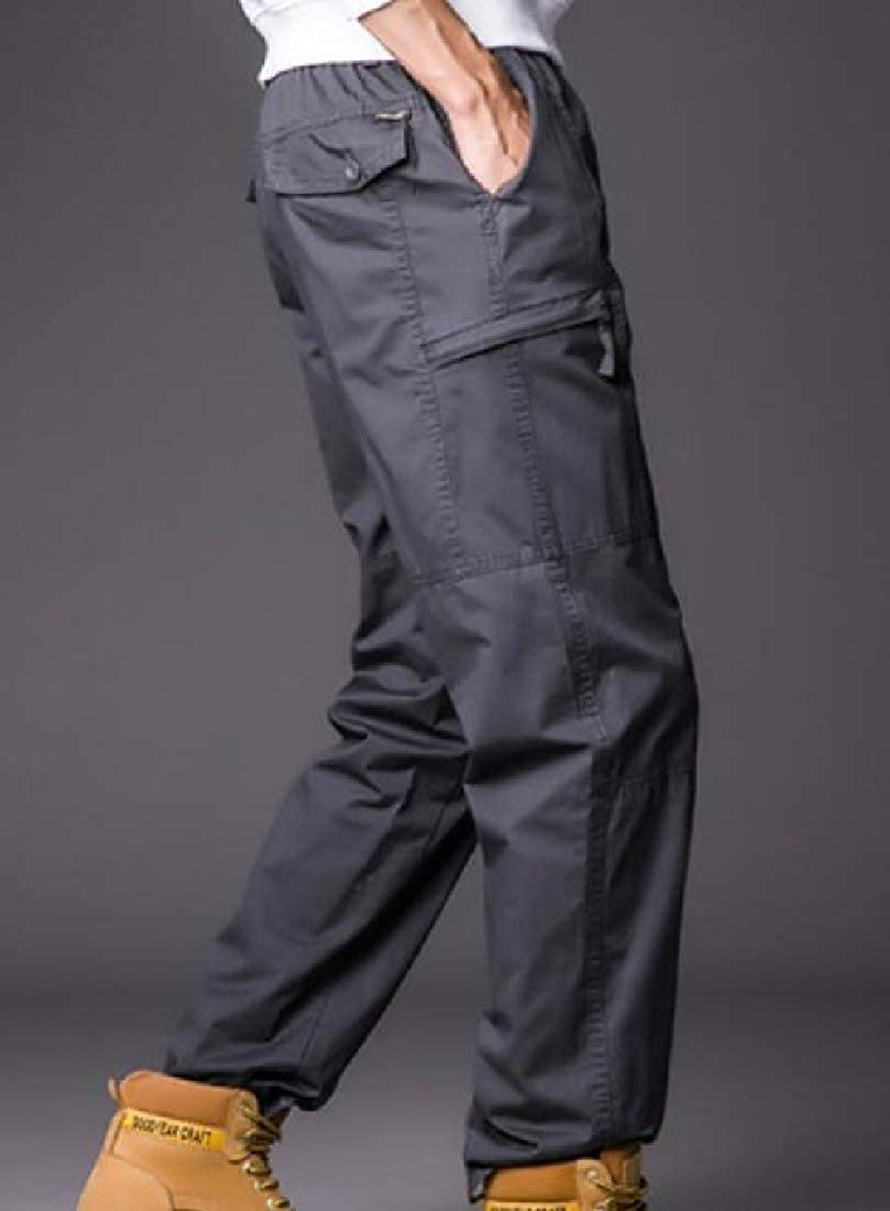 AngelSpace Mens Cotton Straight-Fit Multi-Pockets Washed Tactical Pants