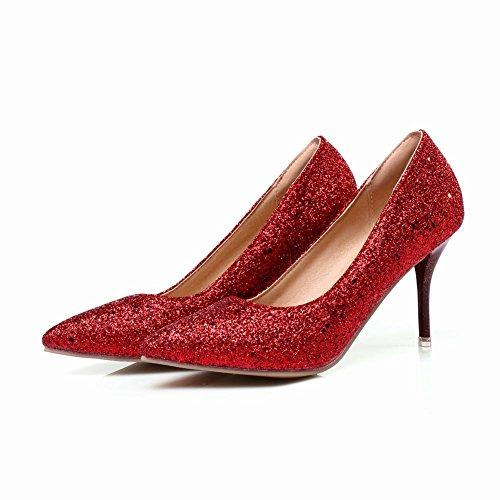 Stilettos Sequins Pumps Pointed Heels Red Chic Shoes Carolbar Womens High Toe E5qx8XU