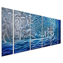 Pure Art Blue Ocean Waves Metal Wall Art, Large Decor in Abstract Ocean Design, 3D Wall Art for Modern and Contemporary Decor, 6-Panels Measures 24x 65, Great for Indoor and Outdoor Settings