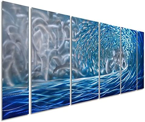 Pure Art Blue Ocean Waves Metal Wall Art, Large Decor in Abstract Ocean Design, 3D Wall Art for Modern and Contemporary Decor, 6-Panels Measures 24 x 65 , Great for Indoor and Outdoor Settings