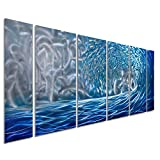 Pure Art Blue Ocean Waves Metal Wall Art, Large Decor in Abstract Ocean Design, 3D Wall Art for Modern and Contemporary Decor, 6-Panels Measures 24''x 65'', Great for Indoor and Outdoor Settings