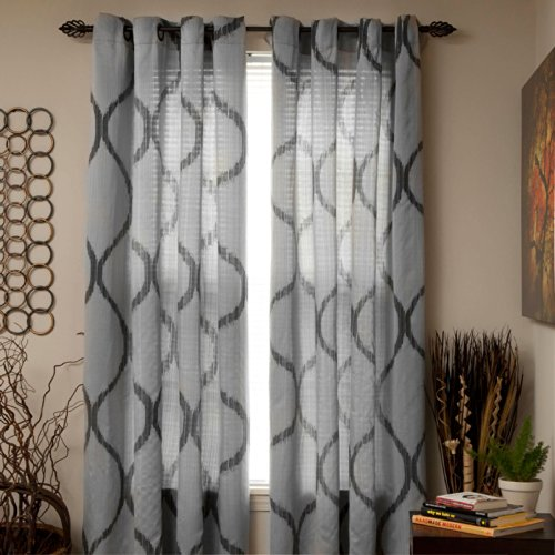 Lavish Home Metallic Grommet Curtain Panels, 84-Inch, Silver