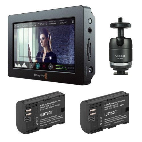 Blackmagic Design Video Assist HDMI/6G-SDI Recorder with 5'' Monitor & Watson LP-E6N Lithium-Ion Battery Pack of (2) Plus Vello Multi-Function Ball by Blackmagic Design