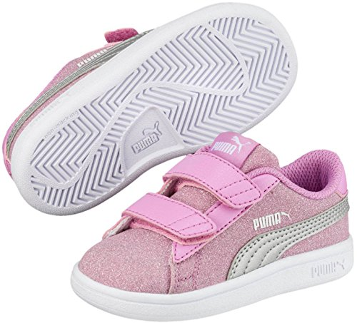 5aa3c5bc5447 Galleon - PUMA Girls  Smash V2 Glitz Glam Velcro Sneaker